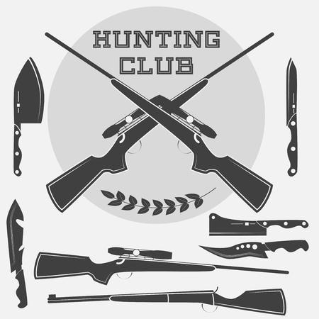 Set d'étiquettes d'armes rétro, emblèmes et éléments de conception. Vector illustration Vecteurs