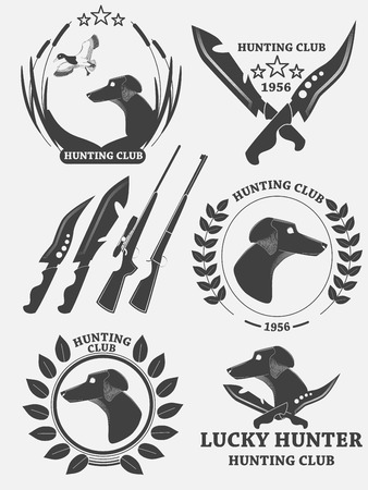 Set of hunting retriever logos, labels and badges. Dog, duck, weapons. Vector illustration Illustration