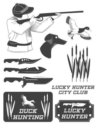 Africaine étiquettes chasseur de safari, emblèmes et éléments de conception. Vector illustration