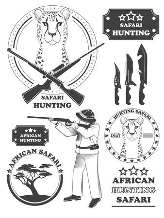 étiquettes chasseur de safari africain, emblèmes de léopard et des éléments de conception. Vector illustration