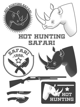 étiquettes chasseur de safari, rhinocéros emblèmes et éléments de design africain. Vector illustration