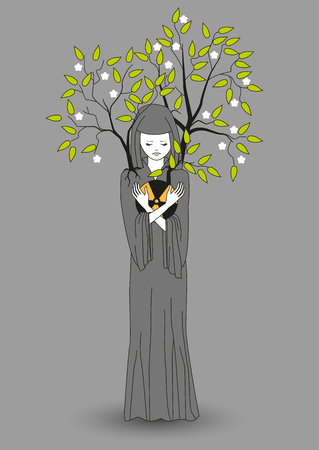 Girl with a gray cloak holding hands radiation and save the environment from contamination soaking it in themselves. Vector illustration