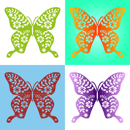 manipulation: Spring butterfly color composition. Vector illustration layered for easy manipulation and custom coloring. Vector illustration