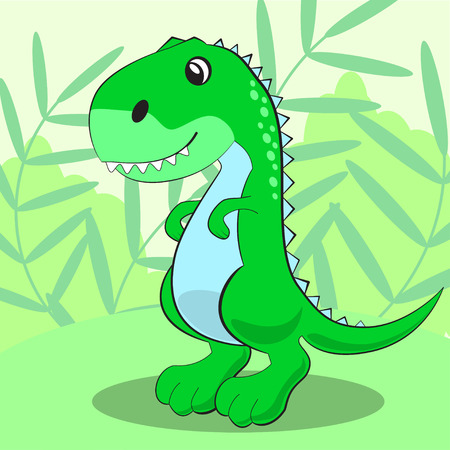 Cute dinosaur standing on a green meadow and smiling. Vector illustration