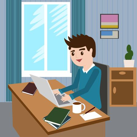 using computer: Flat design modern vector illustration lifestyle concept of handsome man in casual T-shirt sitting at the desk and working on laptop in the office. Isolated on stylish background. Vector illustration