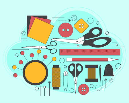 dressmaking: Set of accessories for sewing and handmade paper card with dressmaking accessories. Line art. Vector illustration Illustration