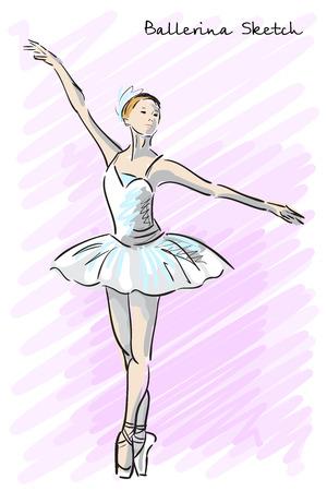 Mignon Danseur de ballet de style fille croquis. Old tiré par la main imitation. Vector illustration Vecteurs