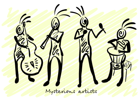 mysterious: Abstract mysterious musicians. Corporate identity sketch. Vector illustration Illustration