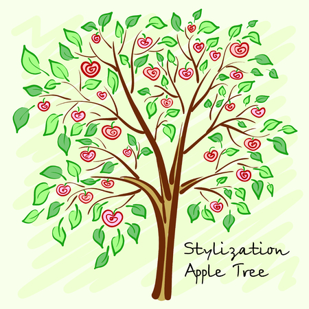 prolific: Stylized apple tree with lonely mysterious fruits. Vector illustration