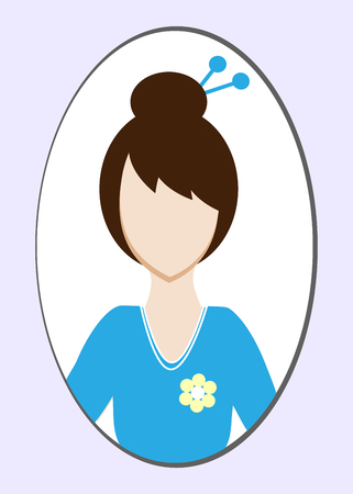 Female avatar or pictogram for social networks. Modern flat colorful style. Vector illustration Illustration