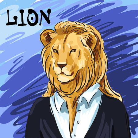 be the identity: Portrait of a leader. Beautiful lion in a suit hand-drawn. Individual corporate identity. It can be used as a postcard. Vector illustration