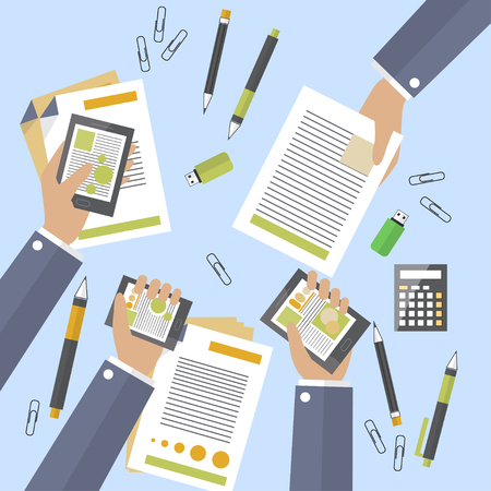 treaty: Hands of business people busy devices and papers. Big deal is signed. Treaty and counting profits. Annual or monthly report. Flat design. Vector illustration