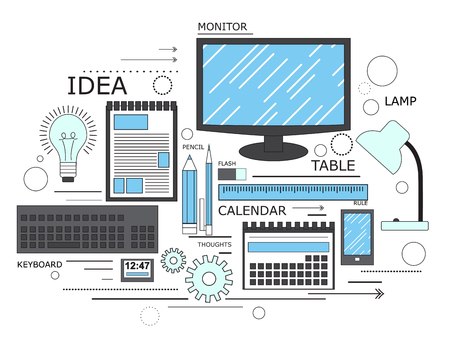 learning process: Power of knowledge, learning process, self education in applied science, computer technology for study. Modern concept. Line art. Vector illustration