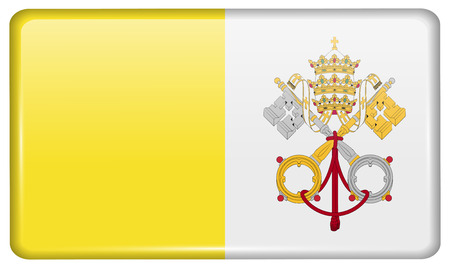 roman catholic: Flags of Vatican CityHoly See in the form of a magnet on refrigerator with reflections light. Vector illustration