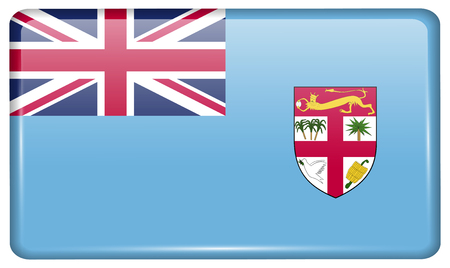 Flags of Fiji in the form of a magnet on refrigerator with reflections light. Vector illustration Illustration
