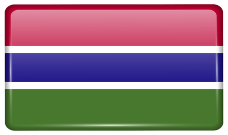 proportional: Flags of Gambia in the form of a magnet on refrigerator with reflections light. Vector illustration