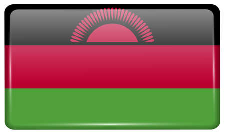 correctly: Flags of Malawi in the form of a magnet on refrigerator with reflections light. Vector illustration
