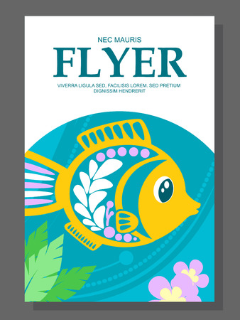 decorative fish: Summer flyer with a decorative fish on the ocean floor and algae near it. Vector illustration