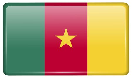 cameroonian: Flags of cameroon in the form of a magnet on refrigerator with reflections light. Vector illustration