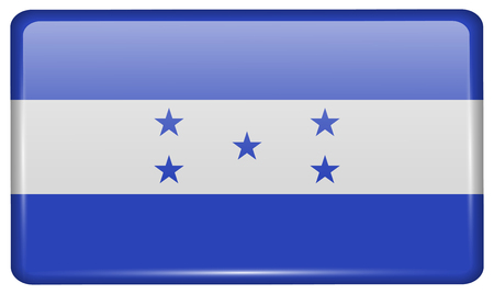 spangled: Flags of Honduras in the form of a magnet on refrigerator with reflections light. Vector illustration