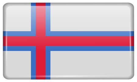 british culture: Flags of Faroe Islands in the form of a magnet on refrigerator with reflections light. Vector illustration Illustration