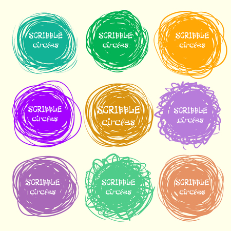 garabatos: Set of bright hand-drawn scribble circles for your design. Vector illustration Vectores