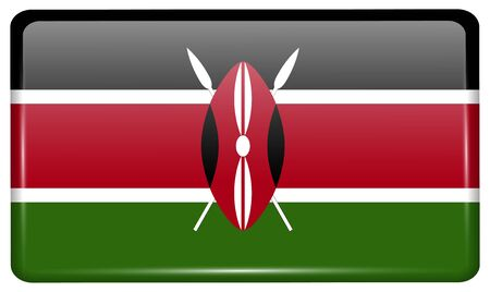 Flags of Kenya in the form of a magnet on refrigerator with reflections light. Vector illustration