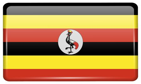 Flags of Uganda in the form of a magnet on refrigerator with reflections light. Vector illustration