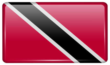 trinidadian: Flags of Trinidad and Tobago in the form of a magnet on refrigerator with reflections light. Vector illustration
