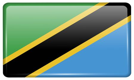 Flags of Tanzania in the form of a magnet on refrigerator with reflections light. Vector illustration