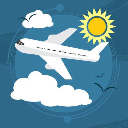 air liner: Sunny day. The plane takes passengers to the resort. With seagulls in the sky. Vector illustration
