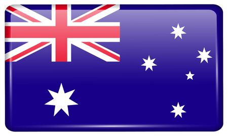 patriots: Flags of Australia in the form of a magnet on refrigerator with reflections light. Vector illustration Illustration