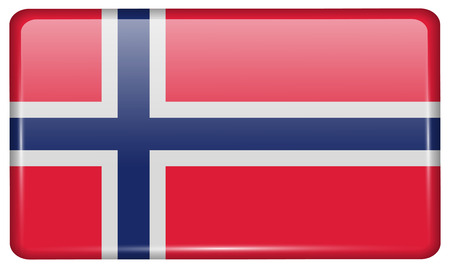 norwegian flag: Flags of Norway in the form of a magnet on refrigerator with reflections light. Vector illustration Illustration