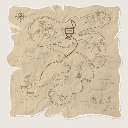 Piraat schatkaart van het eiland op oud papier. vector illustratie