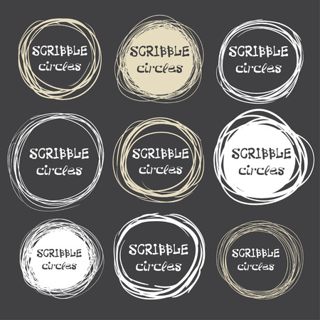 scrawl: Collection of hand-drawn scribble circles against a dark background. Vector illustration