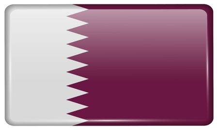 patriots: Flags of Qatar in the form of a magnet on refrigerator with reflections light. Vector illustration