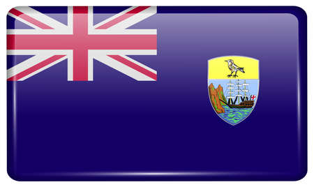retrospective: Flags of Saint Helena in the form of a magnet on refrigerator with reflections light. Vector illustration