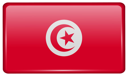 Flags of Tunisia in the form of a magnet on refrigerator with reflections light. Vector illustration