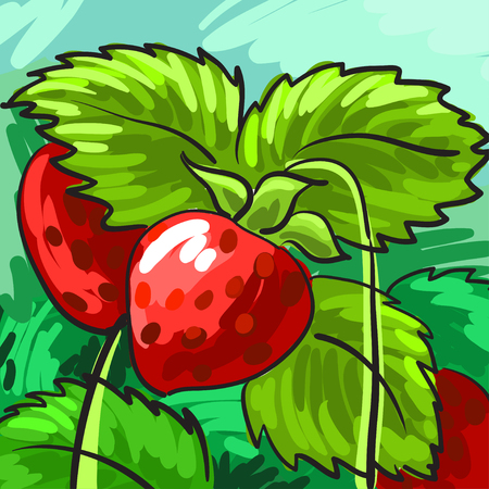 docket: Ripe strawberries on a green background for your design. Card. Vector illustration Illustration