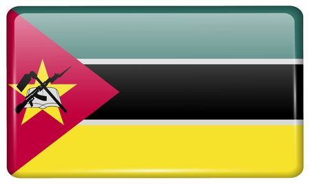 Flags of Mozambique in the form of a magnet on refrigerator with reflections light.