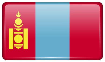 mongolia: Flags of Mongolia in the form of a magnet on refrigerator with reflections light. Vector illustration