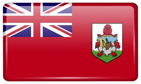Flags of Bermuda in the form of a magnet on refrigerator with reflections light. Vector illustration