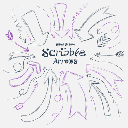 garabatos: Collection of scribble arrows hand-drawn on a white background. Vector illustration Vectores
