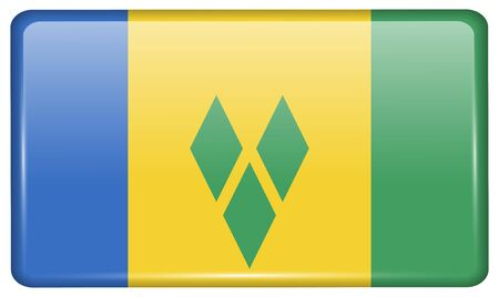 grenadines: Flags of Saint Vincent and Grenadines in the form of a magnet on refrigerator with reflections light. Vector illustration