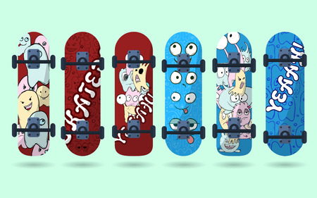 Collection of blue and red skateboard with monsters on a light background. Vector illustration