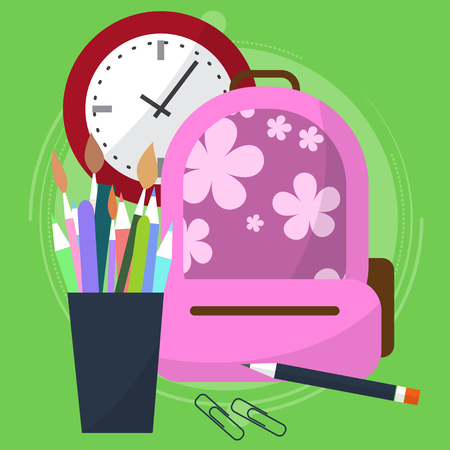 the case before: school bag with a pencil case in which the pens and pencils. Watch that show how much is left before the end of the lesson. Back to school. Start the lesson. Vector illustration