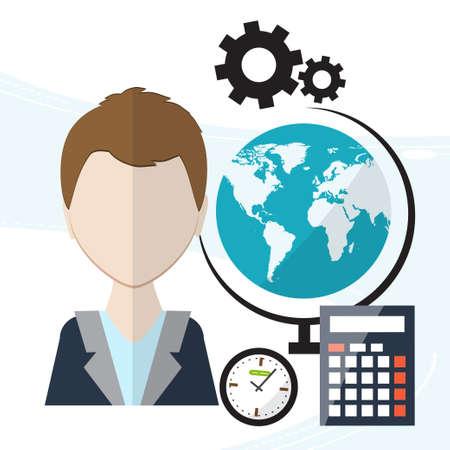 articulos de oficina: La planificaci�n de flujo de trabajo. En el contexto de art�culos de oficina como relojes, bol�grafos, calendario, agenda. ilustraci�n vectorial