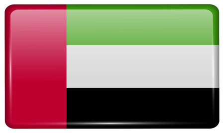 correctly: Flags of United Arab Emirates in the form of a magnet on refrigerator with reflections light. Vector illustration