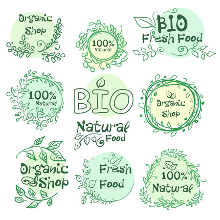 logotypes: Set of logotypes elements hand-drawn bio, organic, natural food for your design. Vector illustration