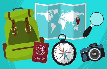 hike: Hike and travel by world with a passport facilities, backpack, a magnifying glass, camera, maps. Vector illustration